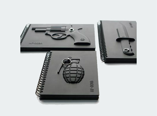 Black Notebook Series with 3D Covers of Weaponery